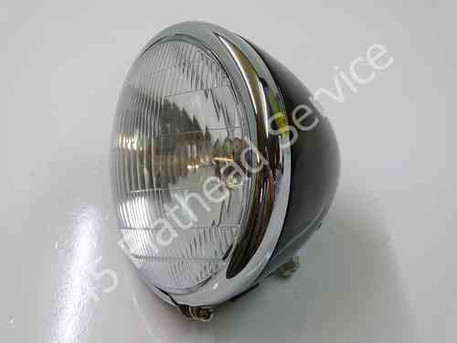headlight compl. black, chrome rim 6 volt as or,all